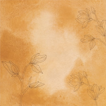 Sfondo giallo trama acquerello con fiori disegnati a mano