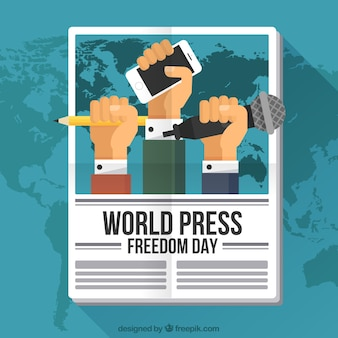 Sfondo giornale con i pugni che rivendicano la libertà di stampa