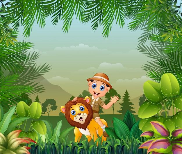 Sfondo giungla o zoo con guardiano dello zoo e leone