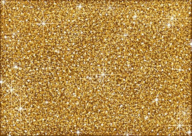 Sfondo glitter dorato brillante con stelle