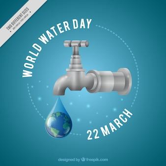 Sfondo goccia d'acqua del rubinetto in stile realistico