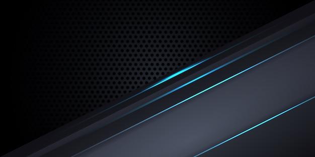 Sfondo grigio scuro in fibra di carbonio con linee e riflessi luminosi blu.