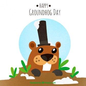 Sfondo groundhog a terra con il cappello