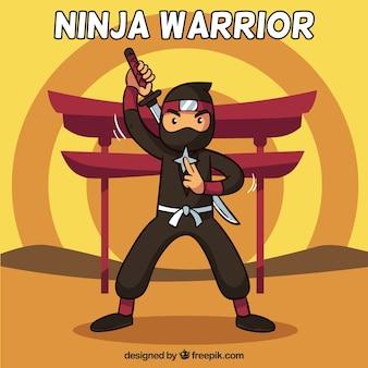 Sfondo guerriero ninja in design piatto