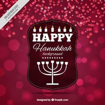 Sfondo hanukkah bokeh con candelabri