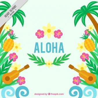 Sfondo hawaiano con ukulele e fiori