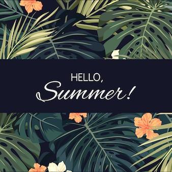 Sfondo hawaiano tropicale di estate con foglie di palma e fiori esotici