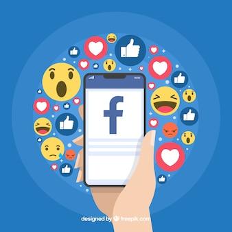 Sfondo icone di Facebook con design piatto