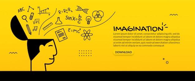 Sfondo idea creativa, concetto di educazione con icone di contorno