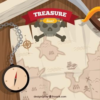 Sfondo in legno con bussola e mappa dei tesori del pirata