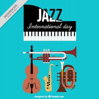Sfondo internazionale giornata di jazz con gli strumenti musicali
