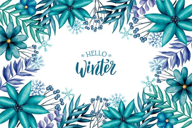 Sfondo invernale ad acquerello con scritte