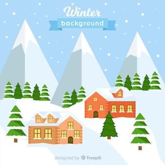 Sfondo invernale adorabile con design piatto