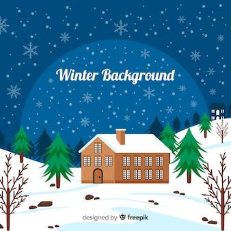 Sfondo invernale casa piatta
