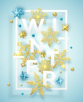 Sfondo invernale con brillanti fiocchi di neve