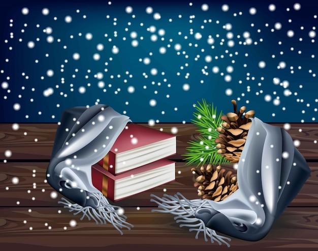 Sfondo invernale con libri di lettura