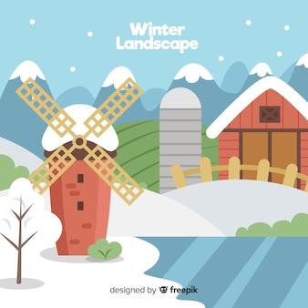 Sfondo invernale di mulino a vento