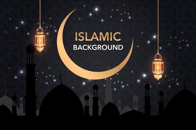 Sfondo islamico creativo con lanterna dorata e moschea