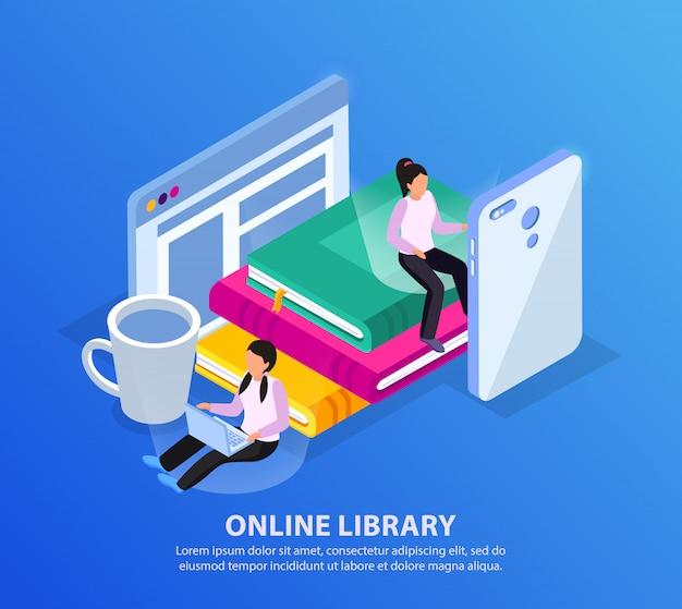 Sfondo isometrico biblioteca online con gadget elettronici di personaggi umani e pila di libri con testo modificabile