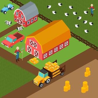 Sfondo isometrico di fattoria