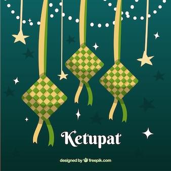 Sfondo ketupat in design piatto