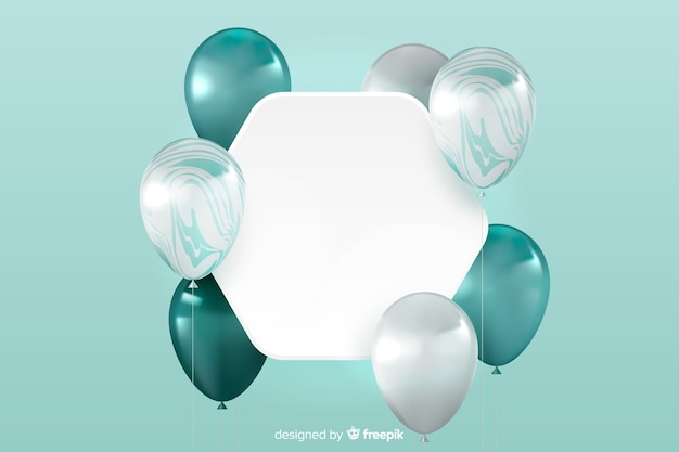 Sfondo lucido palloncino tridimensionale con banner bianco