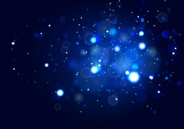Sfondo luminoso blu festivo con luci colorate.