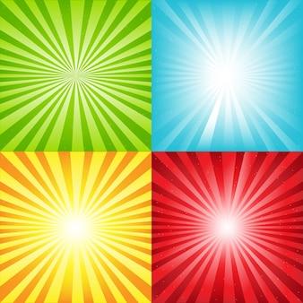 Sfondo luminoso sunburst con travi e stelle, illustrazione