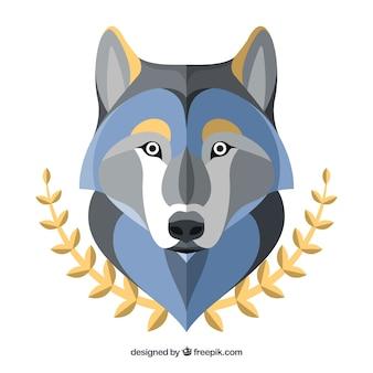 Sfondo lupo con foglie decorative dorate