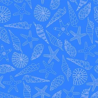 Sfondo marino con conchiglie e stelle marine.
