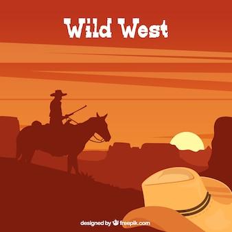 Sfondo marrone con cowboy e cappello in design piatto