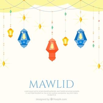 Sfondo mawlid con lanterne in design piatto