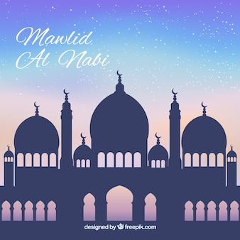 Sfondo mawlid della silhouette moschea