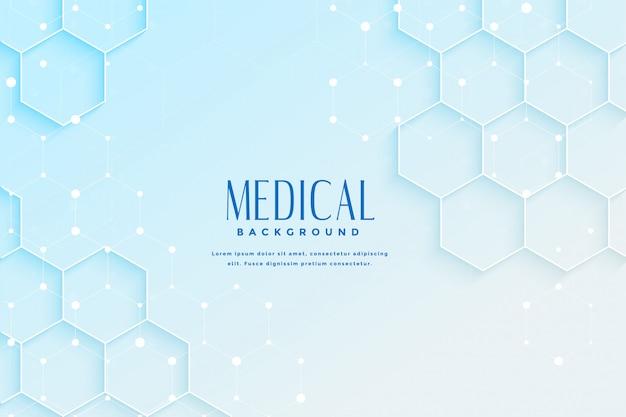 Sfondo medico blu con design di forma esagonale