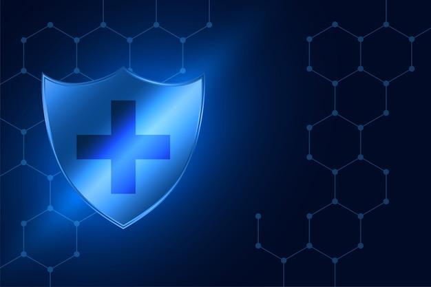 Sfondo medico blu con scudo di protezione antivirus
