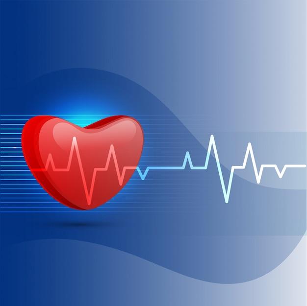 Sfondo medico con cuore e elettrocardiogramma.