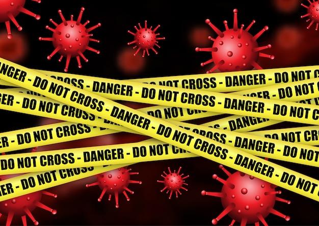 Sfondo medico con nastro di pericolo e cellule virus astratte