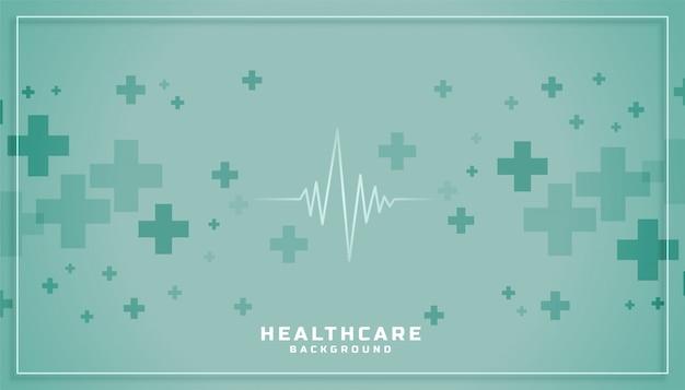 Sfondo medico sanitario con linea cardiografo e segno più