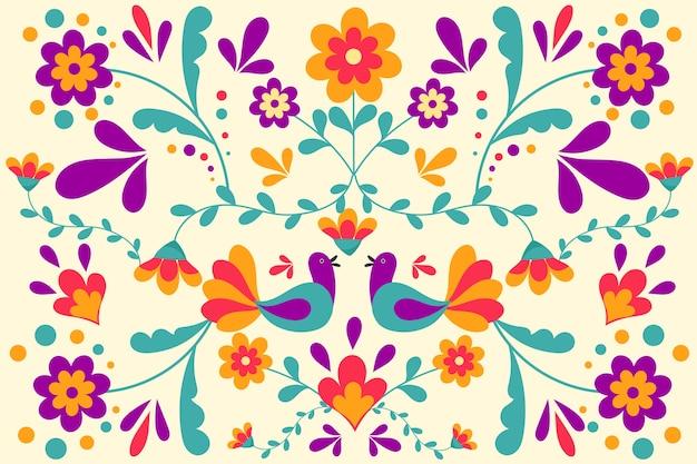 Sfondo messicano colorato con fiori e uccelli