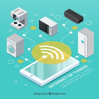 Sfondo mobile e elettrodomestici con internet