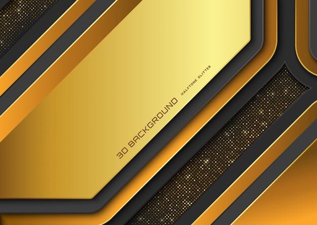 Sfondo moderno 3d con glitter mezzetinte dorato lucido