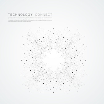 Sfondo moderno collegato con forme geometriche, linee e punti