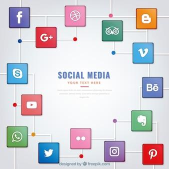 Sfondo moderno con loghi social media in piazze