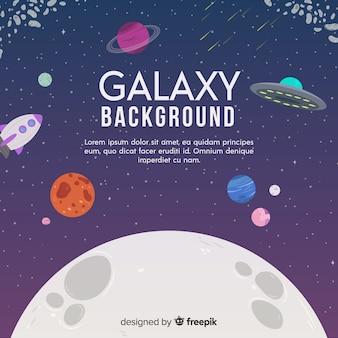 Sfondo moderno galassia con design piatto