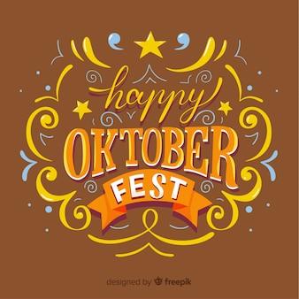 Sfondo moderno più oktoberfest con lettering