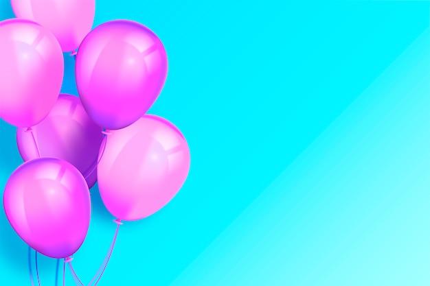 Sfondo moderno turchese con palloncini realistici