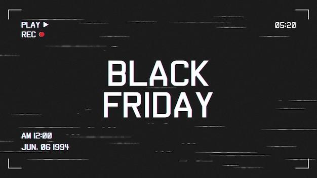 Sfondo moderno venerdì nero con modello effetto vhs
