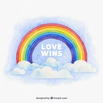 Sfondo mondo orgoglio con arcobaleno acquerello