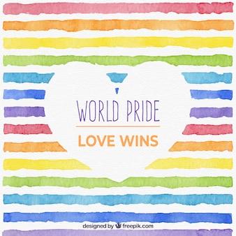 Sfondo mondo orgoglio con linee acquerello