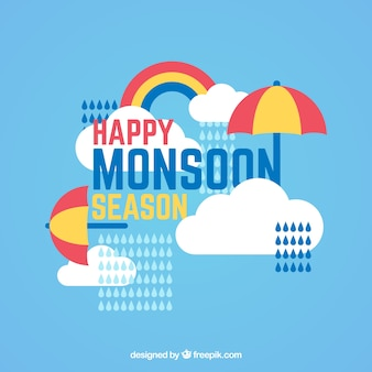 Sfondo monsone felice con ombrello e nuvole in design piatto